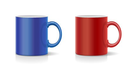 Coffee mug red and blue vector Illustration