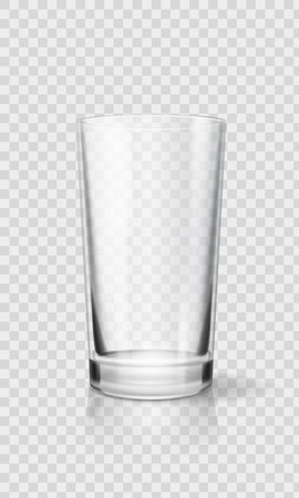 Empty realistic drinking glass cup. Transparent glassware vector illustration