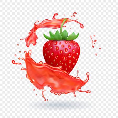 Strawberry fresh juice. Fruit realistic vector icon