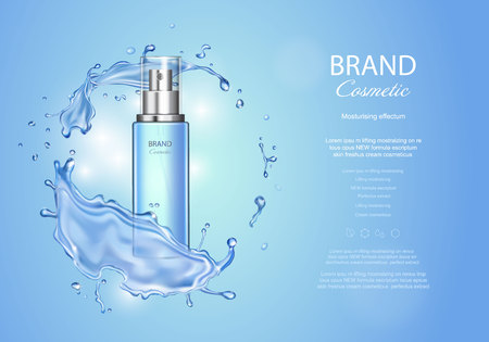Ice toner ads with blue water splash. Transparent spray bottle, water drops , realistic cosmetics product ads