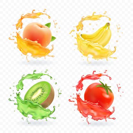 Kiwifruit, banaan, tomaat, perzikabrikozensap. Realistische verse spatten vector vruchten pictogramserie