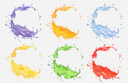 Fruit juice set, transparent realistic colored splashes vector icon.