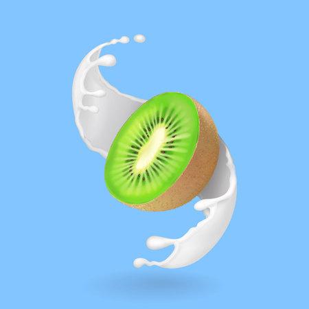 Kiwi fruit and milk splash or yogurt. Realistic vector illustration