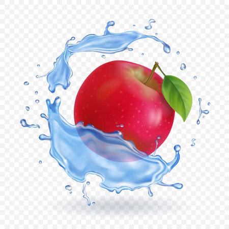 Red apple realistic fruit in water splash Vector illustration . Illustration
