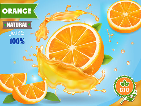 Orange juice ad. Realistic fruits in juicy splash package design