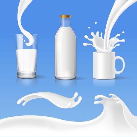 pasteurized: Milk splash glass, bottle and pouring set. Realistic vector Illustration
