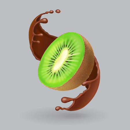 Kiwi fruit and chocolate realistic illustration