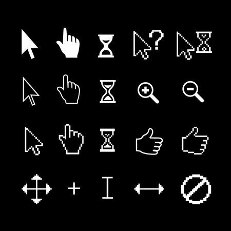 Cursor arrow, hand, hourglass, magnifier, thumb up Illustration
