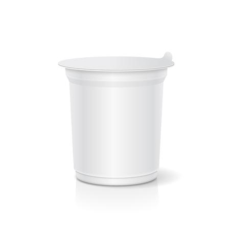 Récipient en plastique blanc blanc pour illustration 3d de la crème sure, yaourt, confitures Banque d'images - 87914380