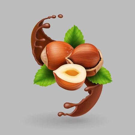 Hazelnut and chocolate realistic splash.