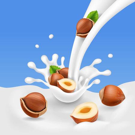 Hazelnuts and flowing milk. Yogurt splash and Nuts yogurt realistic Illustration