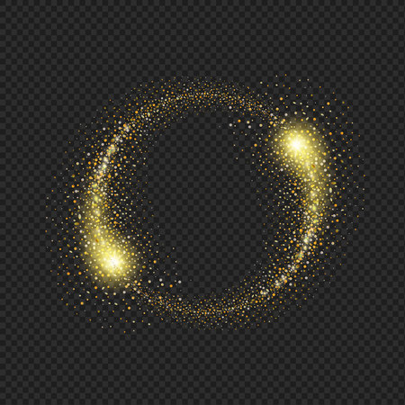 Gold glittering star dust circle on black background Illustration
