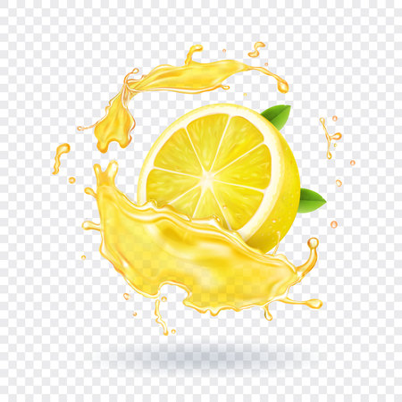 Lemon fruit juice splash realistic 向量圖像