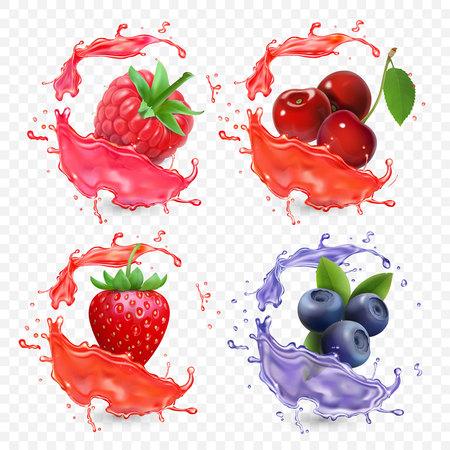 포리스트 딸기 주스 스플래시 블루 베리, 딸기, 라스베리, 체리 과일. 스톡 콘텐츠 - 88589059