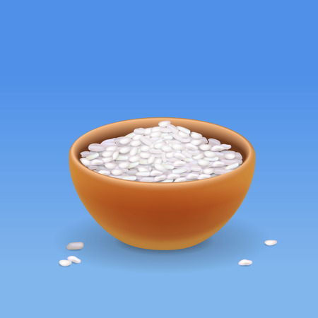Brown bowl with white long rice Vector illustration