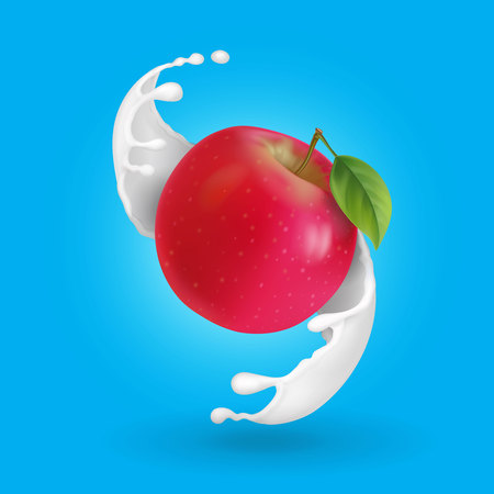 Red apple and milk splash realistic illustration.