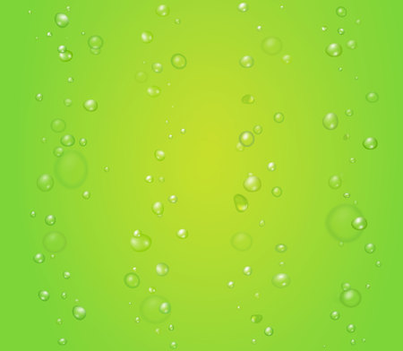 Creen vector background with bubbles or drops. Lime, aloe kiwi juice illustration Çizim