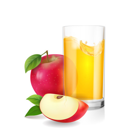 Glass of apple juice with slices of red apple realistic vector illustration isolated.