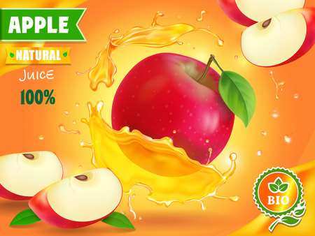Apple juice advertising. Fruit refreshing drink ad. Illustration