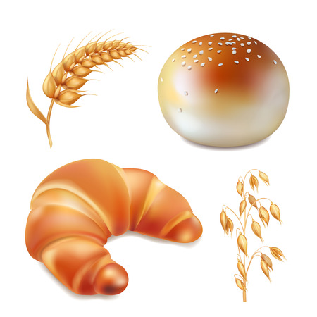Bread and bakery realistic icons vector illustration Illustration