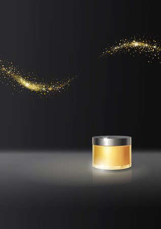 Face cream gold package jar design on black background, advertising vector with space for text