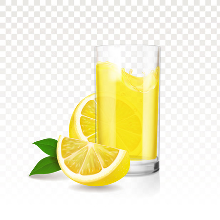 Lemonade glass with pieces of lemon. Vector realistic design Çizim