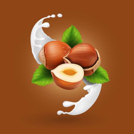 Hazelnuts in milk splash. Illustration