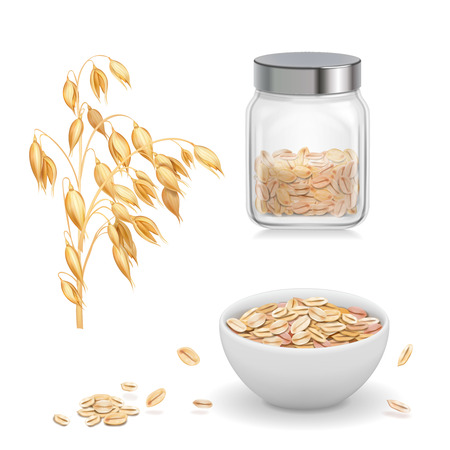 Oats, oat flakes in glass. Oatmeal and muesli in white bowl realistic vector icon Иллюстрация