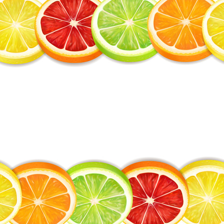 Citrus fruits slices seamless horizontal pattern. Lemon lime grapefruit and orange mix