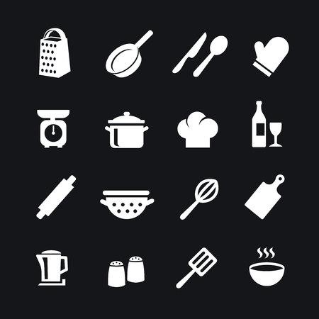 Set of kitchen tools silhouettes white icons