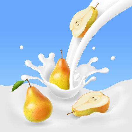 Pear falling into the milk splash.