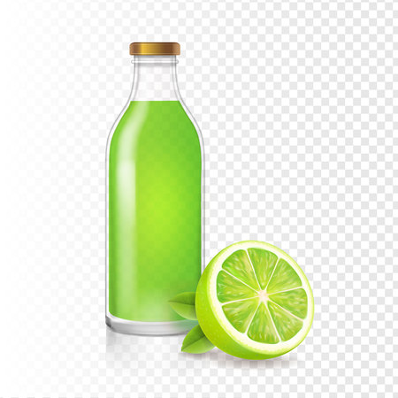 Fresh lime juice in bottle with lime slice. Vector realistic Illustration