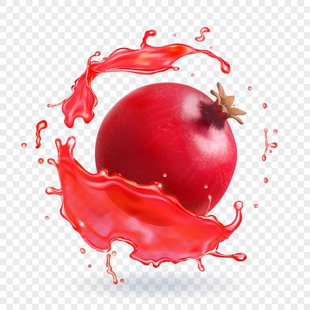 Pomegranate juice splash realistic fruit fresh icon 일러스트