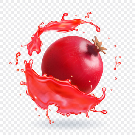 Pomegranate juice splash realistic fruit fresh icon Иллюстрация