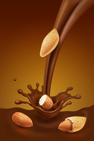 Pouring chocolate and almond. Cocoa splash and nuts