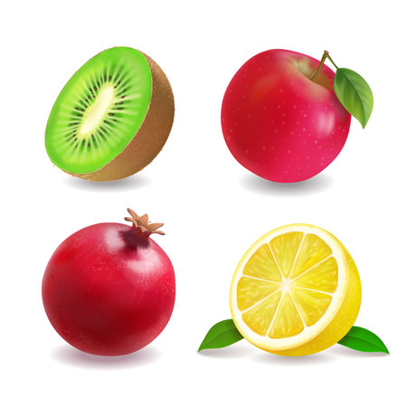 Juice fruits icons realistic vector set. Apple, lemon, kiwi fruit, grapefruit Stock Photo