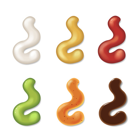 Realistic set color strips of different sauce