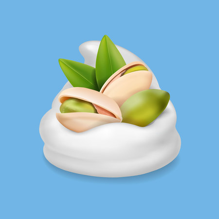 Pistachio nuts in ice cream or yogurt realistic