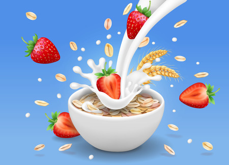 Strawberry and oatmeal flakes. Berry in milk pouring into a cup realistic 3d illustration