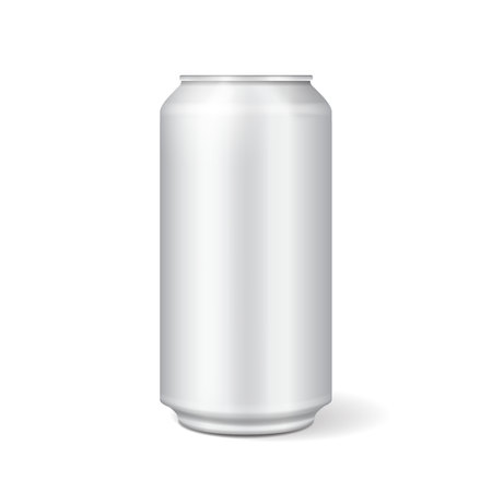 White metal can vector for soft drinks, soda, fizzy pop, lemonade vector realistic mock up