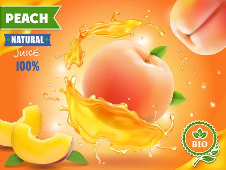 Pfirsichsaft. Realistisches Spritzen des Safts mit Pfirsichwerbung.