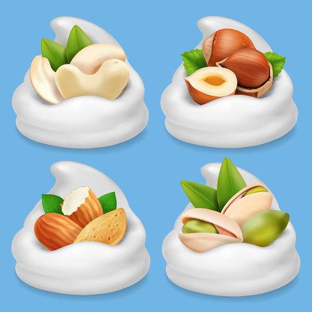 Nut collection realistic in milk or milk chocolate . Hazelnut, pistachio, almond, cashew Illustration