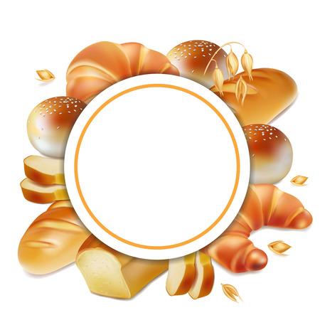 Realistic bread label 3d vector.