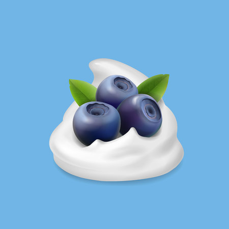 Blueberry and whipped cream or yogurt 3d illustration