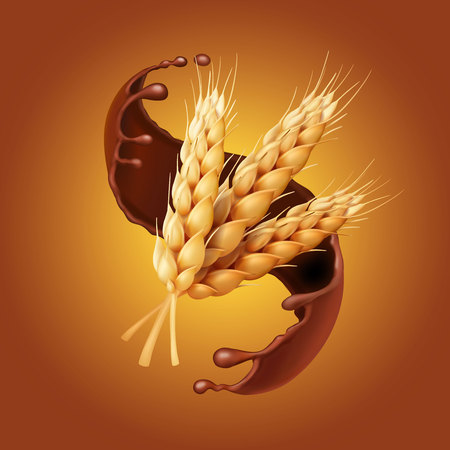 Bunch of wheat, or barley ears in chocolate. Baking or pastry icon . Patisserie icon realistic.