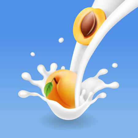 Apricot a milk flow or yogurt splash. Realistic 3d illustration. Illustration
