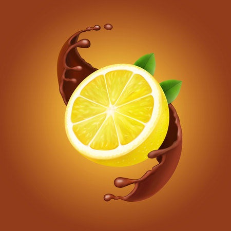 Lemon with leaves and chocolate splash realistic illustration.