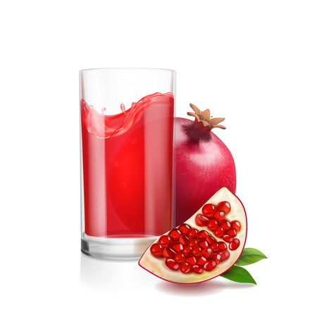 Pomegranate juice in a glass. Garnet Fresh isolated on white background.