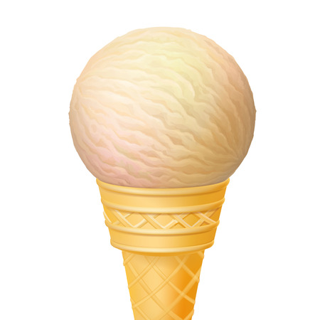 Ice cream in the cone isolated