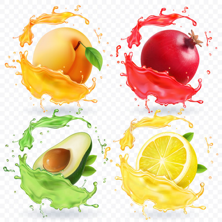 Fruits in realistic splash vector set